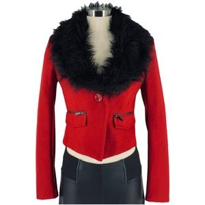 bebe Red Wool Blend Jacket with Faux Fur Collar